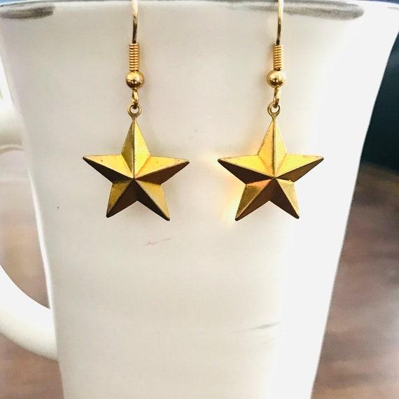 Star in Golden Brass Dangle Earrings