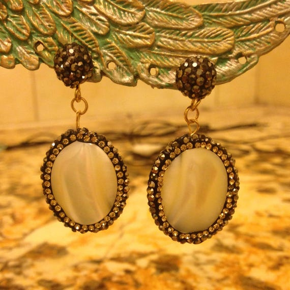 Sophisticated Shell Mother of Pearl and Druzy Dangle Earrings