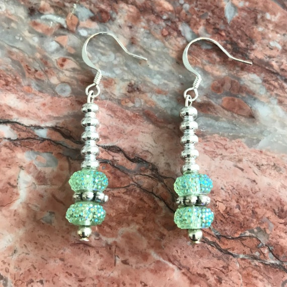 Light Blue and Silver Sparkle Earrings