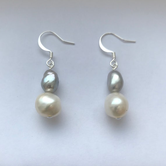 Baroque Freshwater White and Gray Dangle Earrings