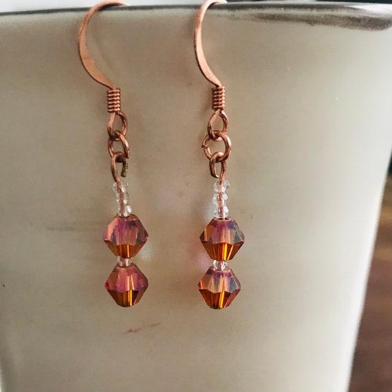 Light Topaz Swarovski Crystal Dangle Earrings