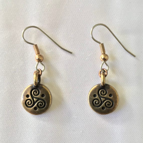 The Celtic Brass Triskele  Spiral Earrings