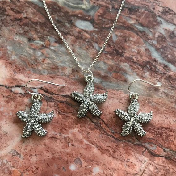 Silver Rhinestone Starfish Necklace and Earring Set