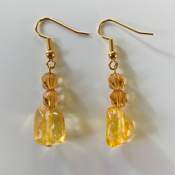 Citrine and Amber Crystal Dangle Earrings