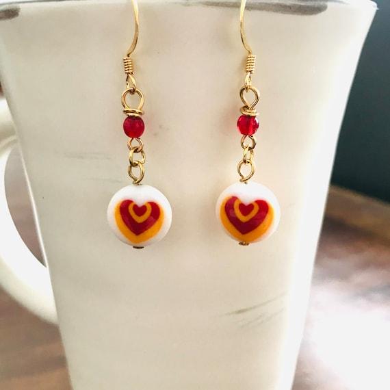 Lamp Worked Opaque Glass Heart Dangle Earrings