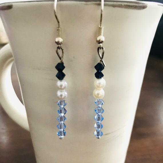 Long Blue Swarovski Crystal and Faux Pearl Dangle Earrings