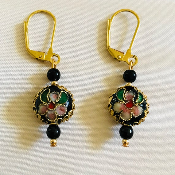 Noir Cloisonné Earrings