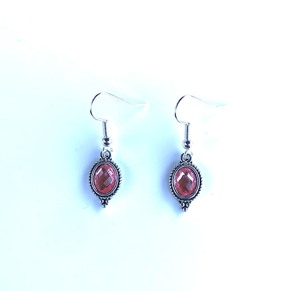 Faceted Pink Glass Bezel Set Antique Silver Dangle Earrings