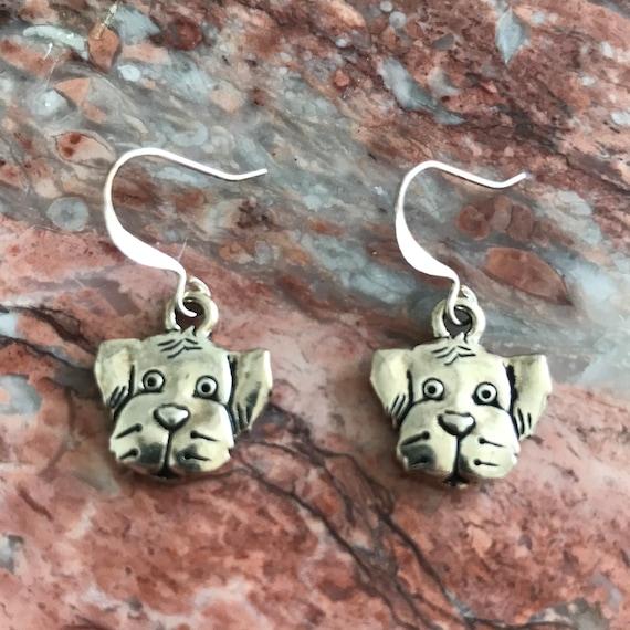 Silver Puppy Dog Dangle Earrings