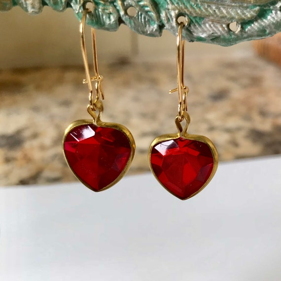 Vintage Red Heart Rhinestone Earrings