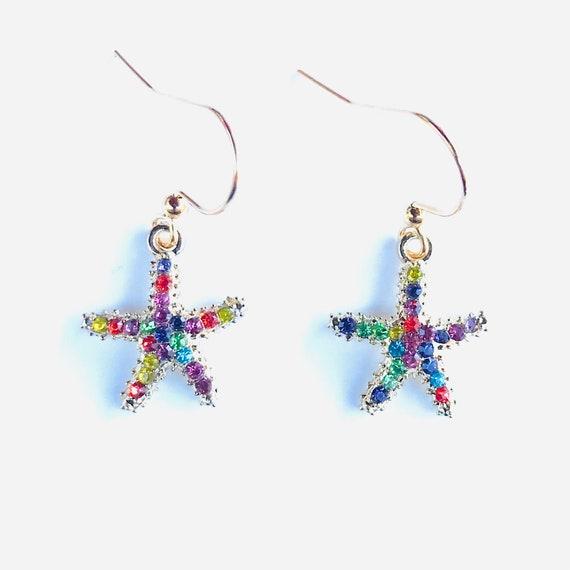 Multicolored Rhinestone Starfish Dangle Earrings