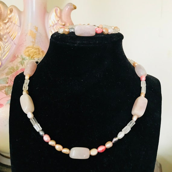Rose Quartz and Freshwater Pearl Necklace, Bracelet and Earrings Set