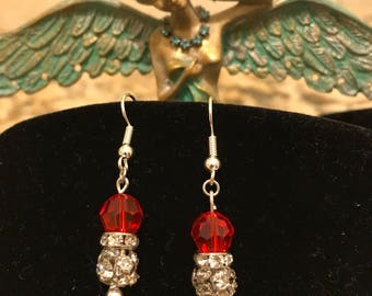 The Sparkling Rhinestone and Red Crystal Dangle Earrings