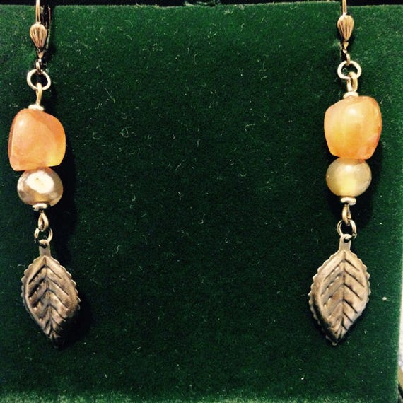 Tangerine with a Touch of Green Quartz and Leaf Earrings