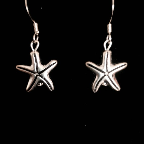 Silver Starfish by the Shore Earrings