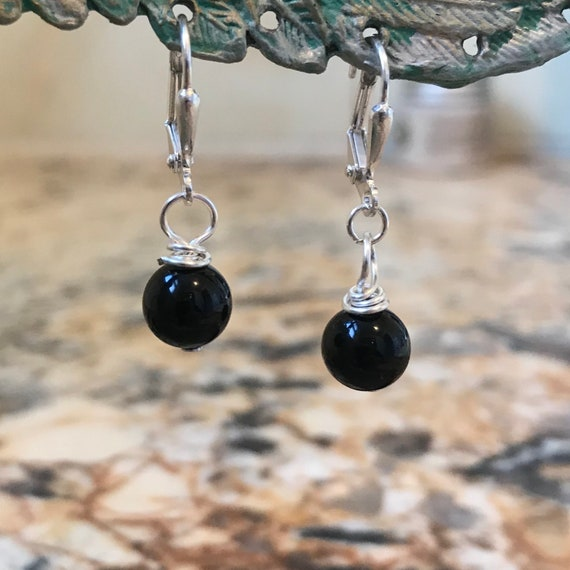 Elegant Black Onyx Dangle Earrings