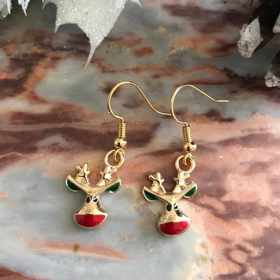 Funny Reindeer Holiday Earrings
