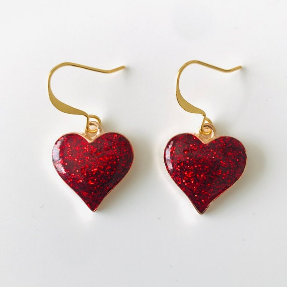 Red Glitter Heart Dangle Earrings
