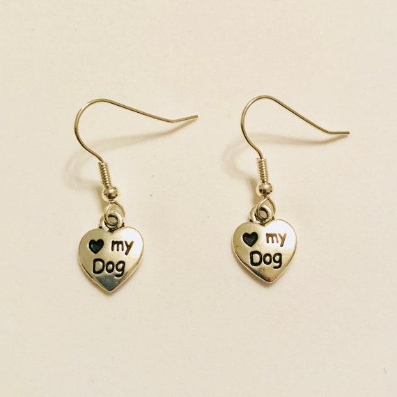 I Love My Dog Silver Tone Earrings