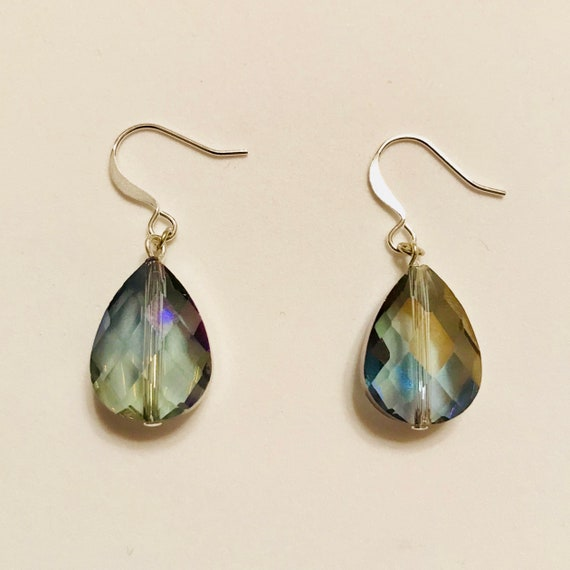 Faceted Teardrop Rainbow Blue Crystal Dangle Earrings