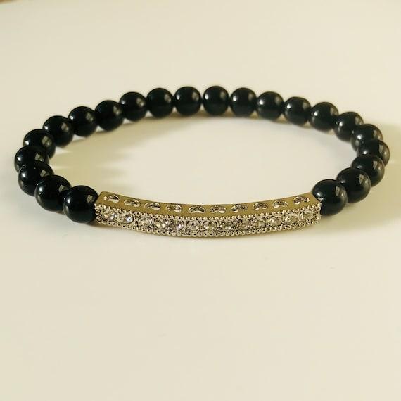 Black Onyx and Rhinestone Bracelet