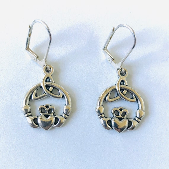 Irish Claddagh Celtic Knot Earrings
