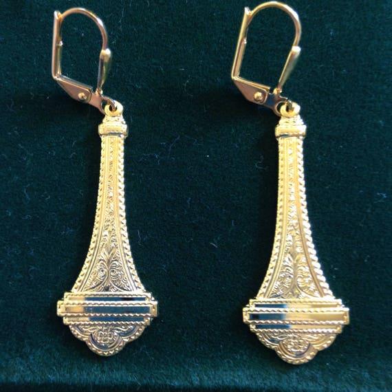 The Scroll in Gold Drop Earrings