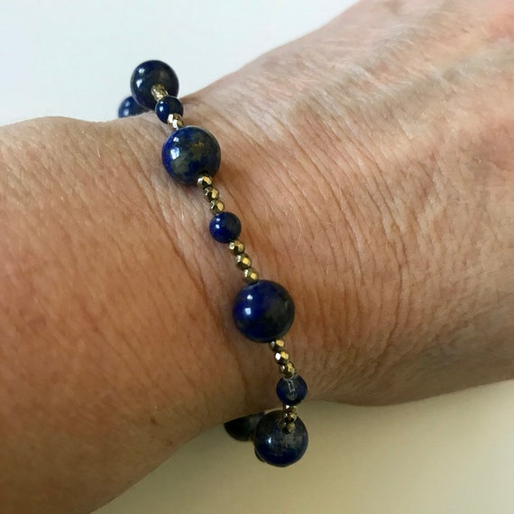 Lapis Lazuli and Gold Pyrite Stretch Bracelet