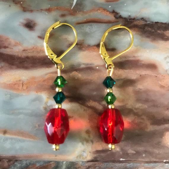 Red Glass and Green Swarovski Crystal Dangle Earrings