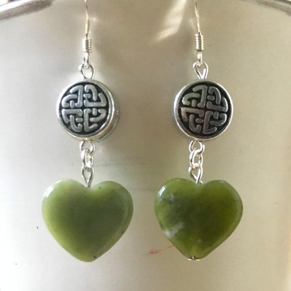 Connemara Heart with Celtic Knot Charm Dangle Earrings