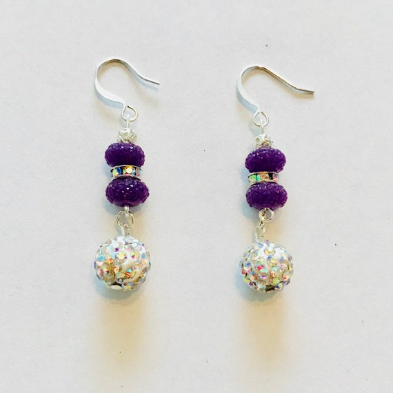 Patty's Perfect Purple Sparkle Dangle Earrings