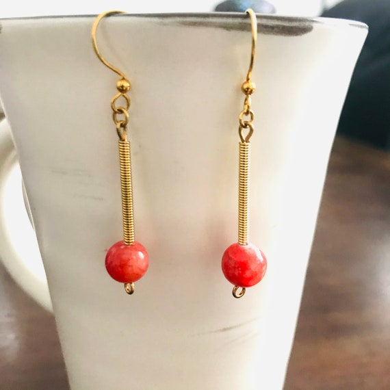 The Red Quartzite Coil Dangle Earrings