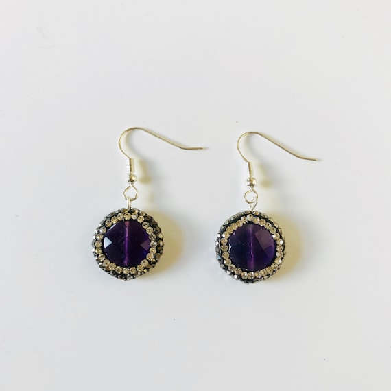 Amethyst Druzy and Rhinestone Earrings