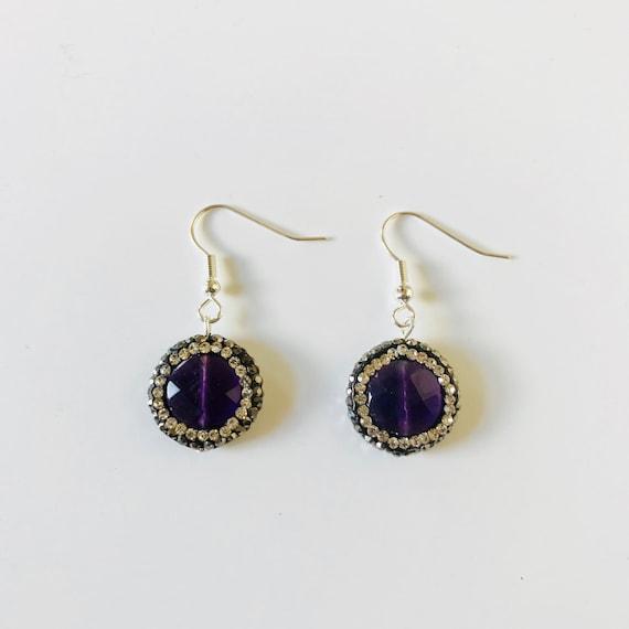 Amethyst Druzy and Rhinestone Sterling Silver Dangle Earrings