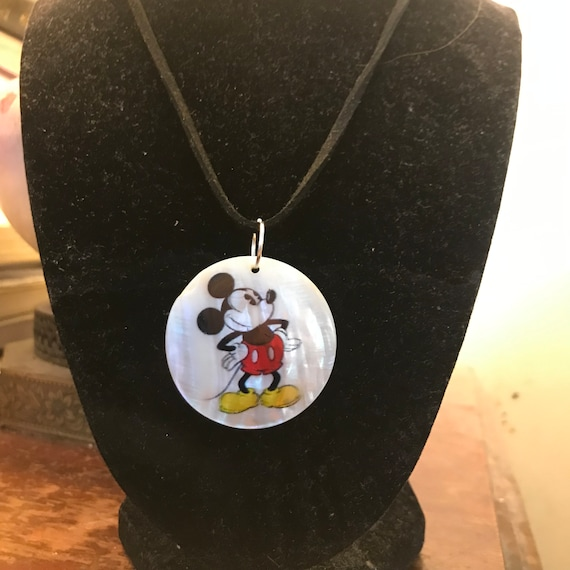 Mickey Mouse Mother of Pearl Pendant Necklace