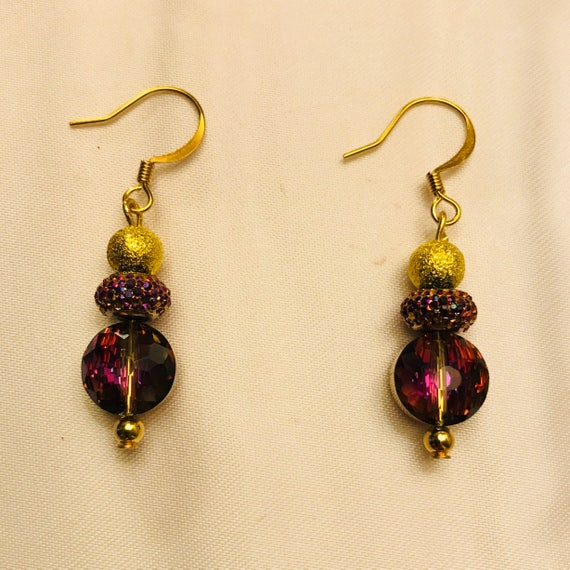 Classic Purple Glass Drop Earrings