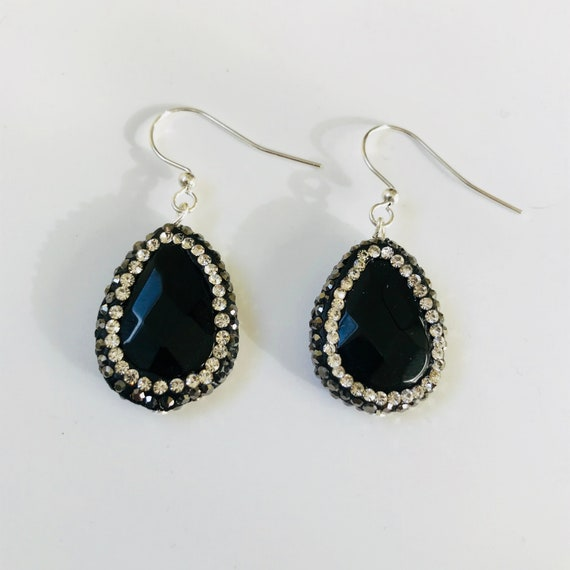 Black Agate and Druzy Crystal Dangle Earrings