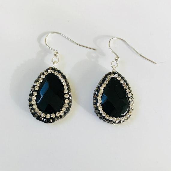 Black Agate and Druzy Crystal Dangle Earrings