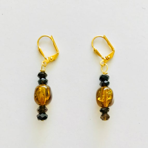 Smoky Quartz and Amber Cracked Crystal Dangle Earrings