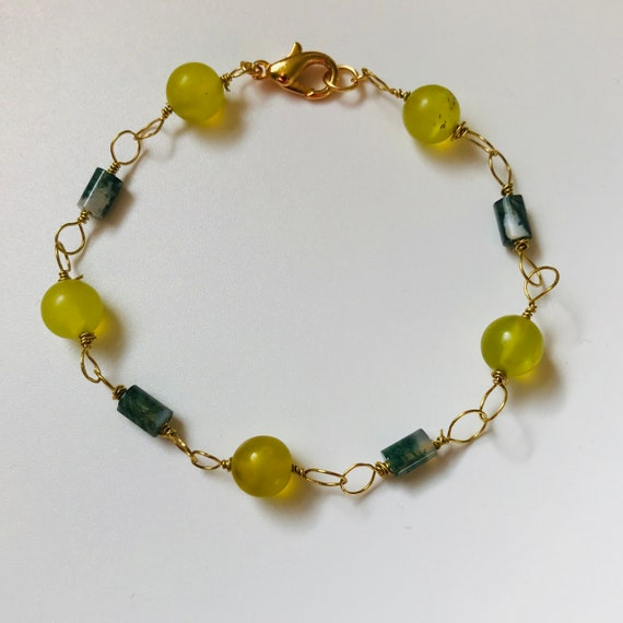 Pretty Prehnite and Green Moss Agate Bracelet
