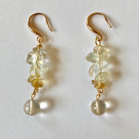 Citrine Chip and Bead Dangle Earrings