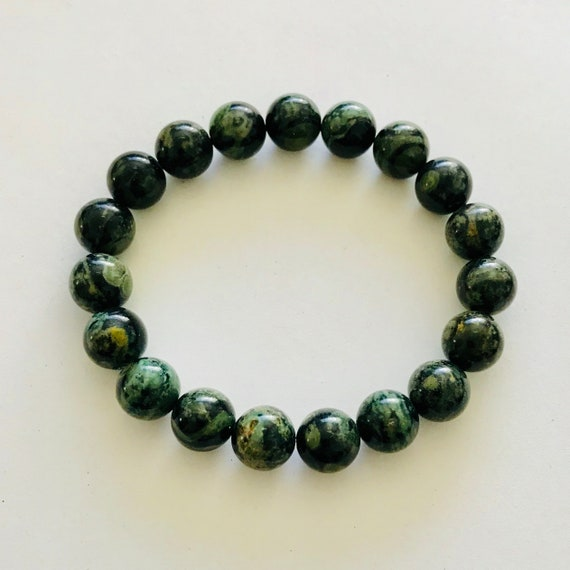Men's Green Moss Agate Stretch Bracelet