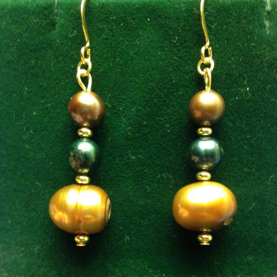 Freshwater Pearl Trio Dangle Earrings