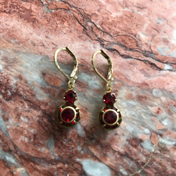 Vintage Siam Red Swarovski Rhinestone Dangle Earrings