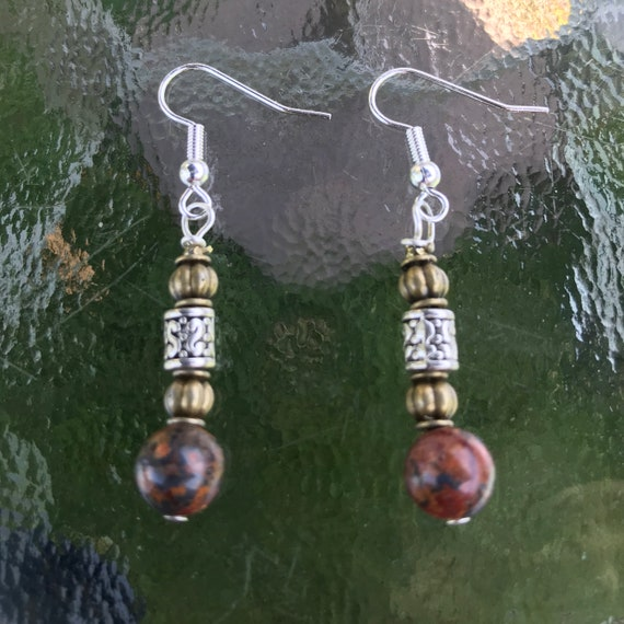 Boho Leopard Skin Jasper Dangle Earrings