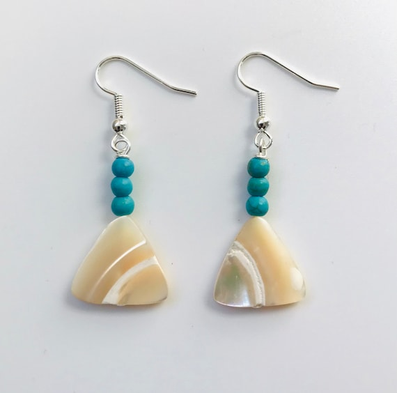 Mother of Pearl and Blue Magnesite Dangle Earrings