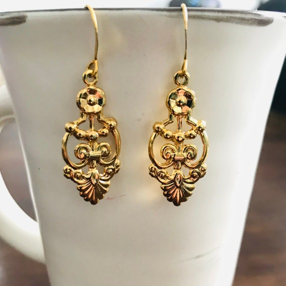 Floral Deco Gold Plated Dangle Earrings