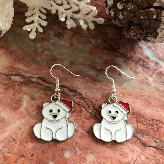 Polar Bear Enamel Christmas Dangle Earrings