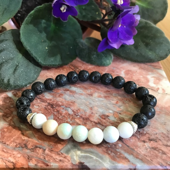 Amazonite and Lava Bead Diffuser Stretch Bracelet