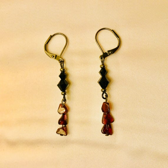 Veronica's Victorian Garnet and Swarovski Crystal Dangle Earrings